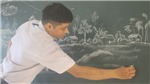 Ngày Nhà giáo Việt Nam 20/11: Những bức tranh phấn trắng truyền cảm hứng cho học sinh