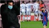 Messi lắc đầu ngao ngán trên khán đài trận Barca hòa Eibar