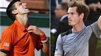 Bán kết Roland Garros 2015: Trận Djokovic và Murray tạm hoãn, 18h hôm nay đánh tiếp
