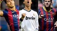 Messi, Suarez và Ronaldo tranh giải Cầu thủ xuất sắc nhất mùa 2014-15 của UEFA