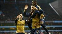 Aston Villa 0-2 Arsenal: Giroud lại ghi bàn, Arsenal lên đầu bảng Premier League