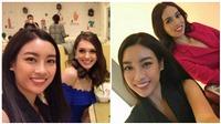 Mỹ Linh rạng ngời, thân thiện khi gặp các thí sinh Hoa hậu Thế giới