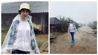 Hình ảnh mới nhất Hoa hậu Đỗ Mỹ Linh lội bùn, dầm mưa ở vùng lũ Yên Bái