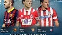 Iniesta, Koke và Rakitic cạnh tranh danh hiệu Tiền vệ xuất sắc nhất La Liga mùa giải 2013-14