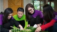 Á hậu Tú Anh lên bản gói bánh chưng xanh tặng người nghèo