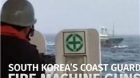 VIDEO: Cận cảnh tàu Hàn Quốc 'quét' súng máy, truy đuổi tàu cá Trung Quốc