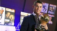 Cristiano Ronaldo giành Quả bóng Vàng thứ 4 với số điểm gấp đôi Lionel Messi