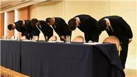 4 tuyển thủ Nhật Bản cúi gập đầu xin lỗi vì vụ bê bối tình dục tại ASIAD 2018