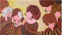 Họa sĩ 8X bày tranh vẽ phụ nữ và trẻ em Tây Bắc