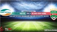 Trực tiếp bóng đá: Viettel đấu với Bình Dương (19h00 hôm nay). Xem bóng đá Việt Nam
