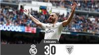 Video clip bàn thắng Real Madrid 3-0 Athletic Bilbao: Benzema lập hat-trick