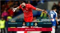 Video Espanyol 2-4 Real Madrid: Real lên thứ 3, nhưng còn kém Barca... 10 điểm