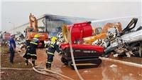 Vụ cháy nhà máy sơ sợi ở Quảng Ninh: Nhà kho 8.500m2 bị sụp đổ hoàn toàn