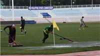 BTC huy động nhân sự gạt nước, các trận đấu ở sân Rizal Memorial diễn ra bình thường