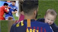 Con trai cắn vai Suarez ngày Barca đăng quang khiến mạng xã hội xôn xao
