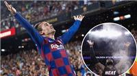 Messi và Suarez cười rạng rỡ trước màn ăn mừng lạ mắt của Griezmann