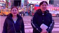 Lê Giang phát âm tiếng Anh hài hước khi dạo chơi New York cùng vợ chồng Trấn Thành