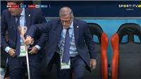 Uruguay 1-0 Ai Cập: Hình ảnh HLV Oscar Tabarez chống gậy ăn mừng gây xúc động