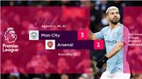 VIDEO Man City 3-1 Arsenal: Hat-trick của Kun Aguero phá nát Pháo thủ