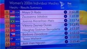Ánh Viên lọt vào bán kết 200m hỗn hợp cá nhân nữ