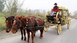Người đàn ông Trung Quốc 'làm nhái' cả cỗ xe ngựa hoàng gia Anh
