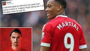 Martial sa sút vì mất áo số 9 vào tay Ibrahimovic