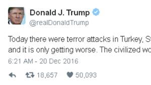 Ông Donald Trump lên tiếng trên Twitter về vụ ám sát đại sứ Nga