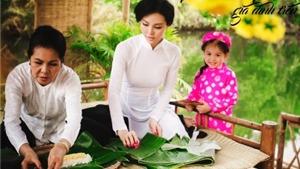 Người mẫu Trà Giang gói bánh tét cùng mẹ