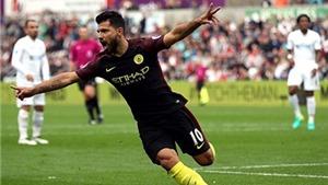 Swansea 1-3 Man City: Aguero lập cú đúp, Man City củng cố ngôi đầu bảng
