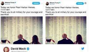 Đệ nhất Phu nhân Mỹ Melania Trump phải xóa dòng tweet về trận Trân Châu Cảng