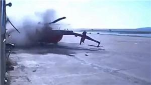 VIDEO: Trực thăng Mi-8 lao thẳng vào tòa nhà vỡ vụn