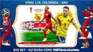 CHỌN KÈO Colombia vs Anh (1h00 ngày 4/7), vòng 1/8 World Cup 2018