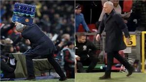 Mourinho gây sốt khi quăng giỏ đựng chai nước sau khi Fellaini ghi bàn