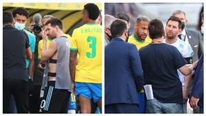 Messi và Neymar ngán ngẩm khi nhân viên y tế vào sân bắt 4 cầu thủ Argentina