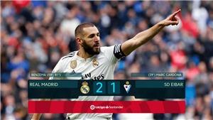 VIDEO bàn thắng Real Madrid 2-1 Eibar: Benzema giải cứu 'Kền kền trắng'
