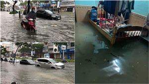 Chùm ảnh: Mưa kéo dài khiến nhiều tuyến phố trung tâm Đà Nẵng bị ngập sâu tới vài mét