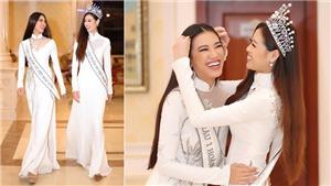 Hoa hậu Khánh Vân diện áo dài thướt tha, ngẫu hứng trổ tài catwalk