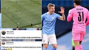 Thủ thành Ederson gây sốt với đường chuyền như 'lừa đảo' giúp Man City ghi bàn