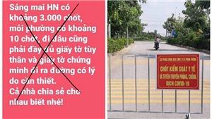 Bác bỏ tin đồn Hà Nội lập 3.000 chốt phòng dịch Covid-19
