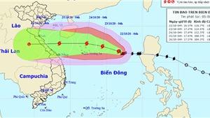 Bão số 8 tăng cấp mạnh giật cấp 14 đang tiến vào các tỉnh miền Trung