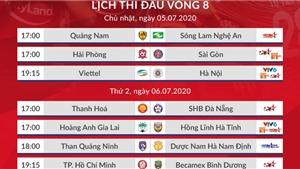Bảng xếp hạng V-League 2020 trước vòng 8