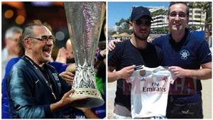 Chelsea đồng ý giải phóng Sarri, Hazard chụp ảnh với áo đấu của Real