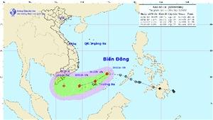 Áp thấp nhiệt đới trên Biển Đông đã mạnh lên thành cơn bão số 14 có tên quốc tế là Krovanh