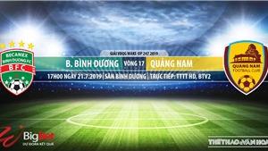 Trực tiếp bóng đá: Bình Dương vs Quảng Nam (17h00, 21/07)