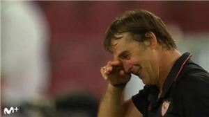 Cựu HLV của Real và Tây Ban Nha bật khóc nức nở sau khi cùng Sevilla vô địch C2