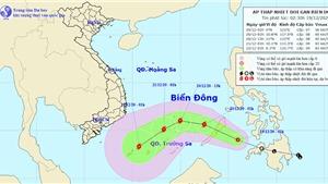 Tin áp thấp nhiệt đới giật cấp 9 gần Biển Đông